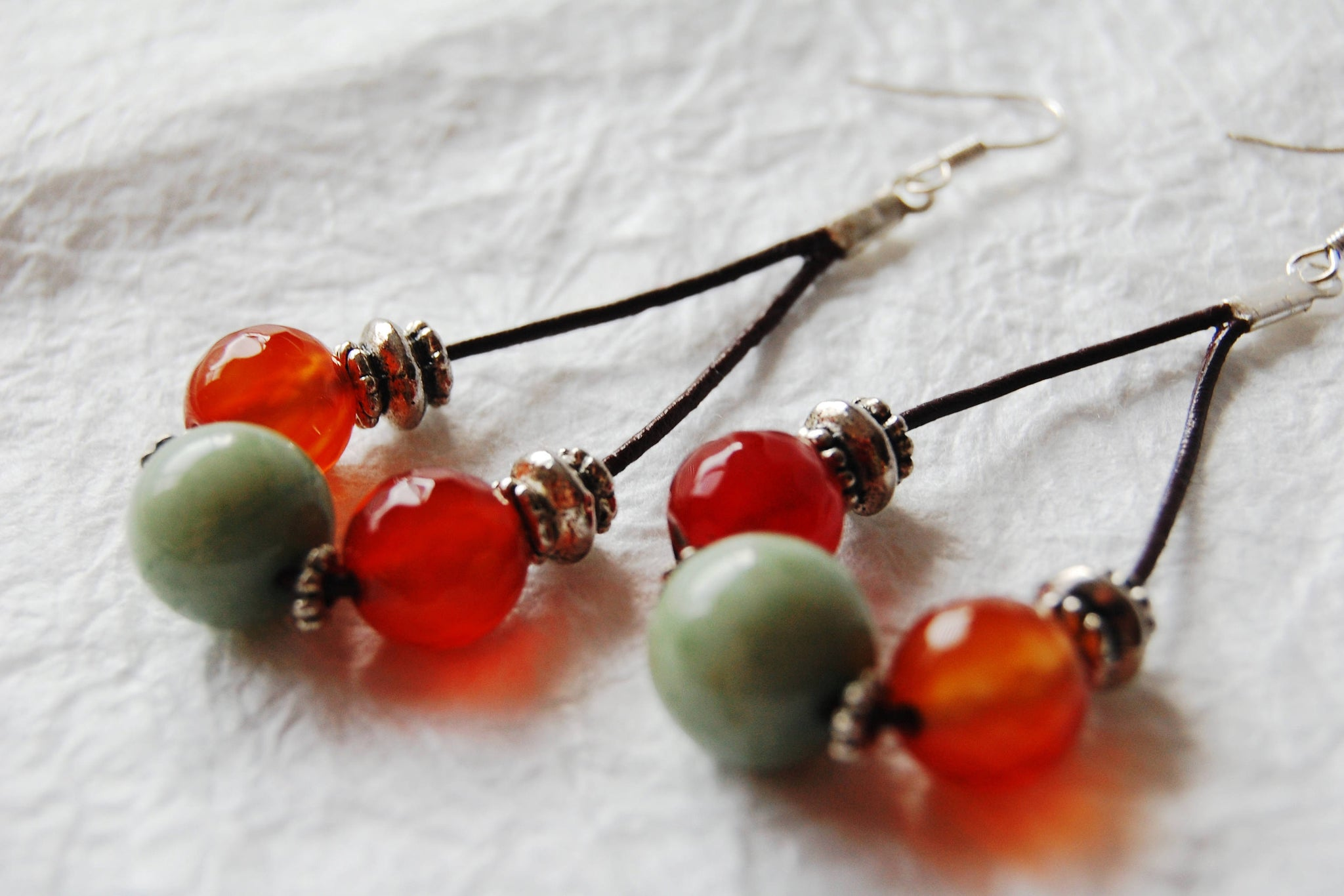 Red Orange Carnelian Dyed Jade and Leather Drop Hoop Earrings, The La Paz Earrings