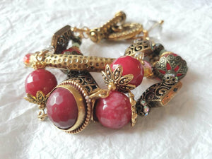 Fuchsia Dyed Jade Agate Triple Strand Chunky India Inspired Bracelet, MB10175: The Raspberries
