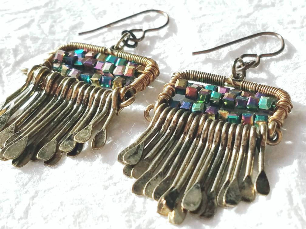 Gold Antique Brass Paddle Cube Seed Bead Drop Earrings, QW09178: Brassy Keys