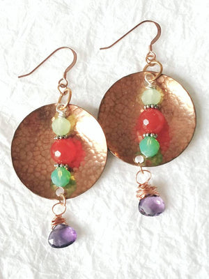 Solid Hammered Copper Carnelian and Amethyst Earrings, QW091720: Navajo Sun & Land