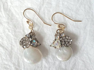 White Shell Pearl Cluster Rhinestone Earrings, MB101724: Winter Ice