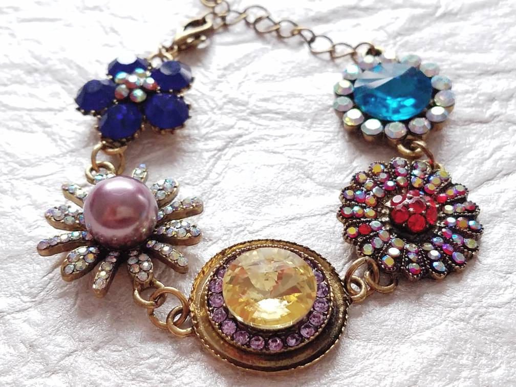 Floral Inspired Glass, Resin and Rhinestone Red, Blue, Yellow, Pink Holiday Themed Bracelet, MB101730: Merry & Bright Bracelet