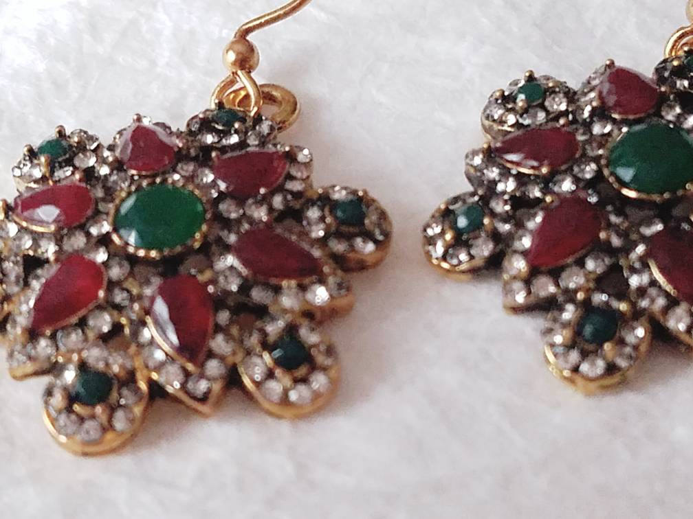 Red, Green Resin and Rhinestone Holiday Earrings  MB101729: The Christmas Snowflake Earrings