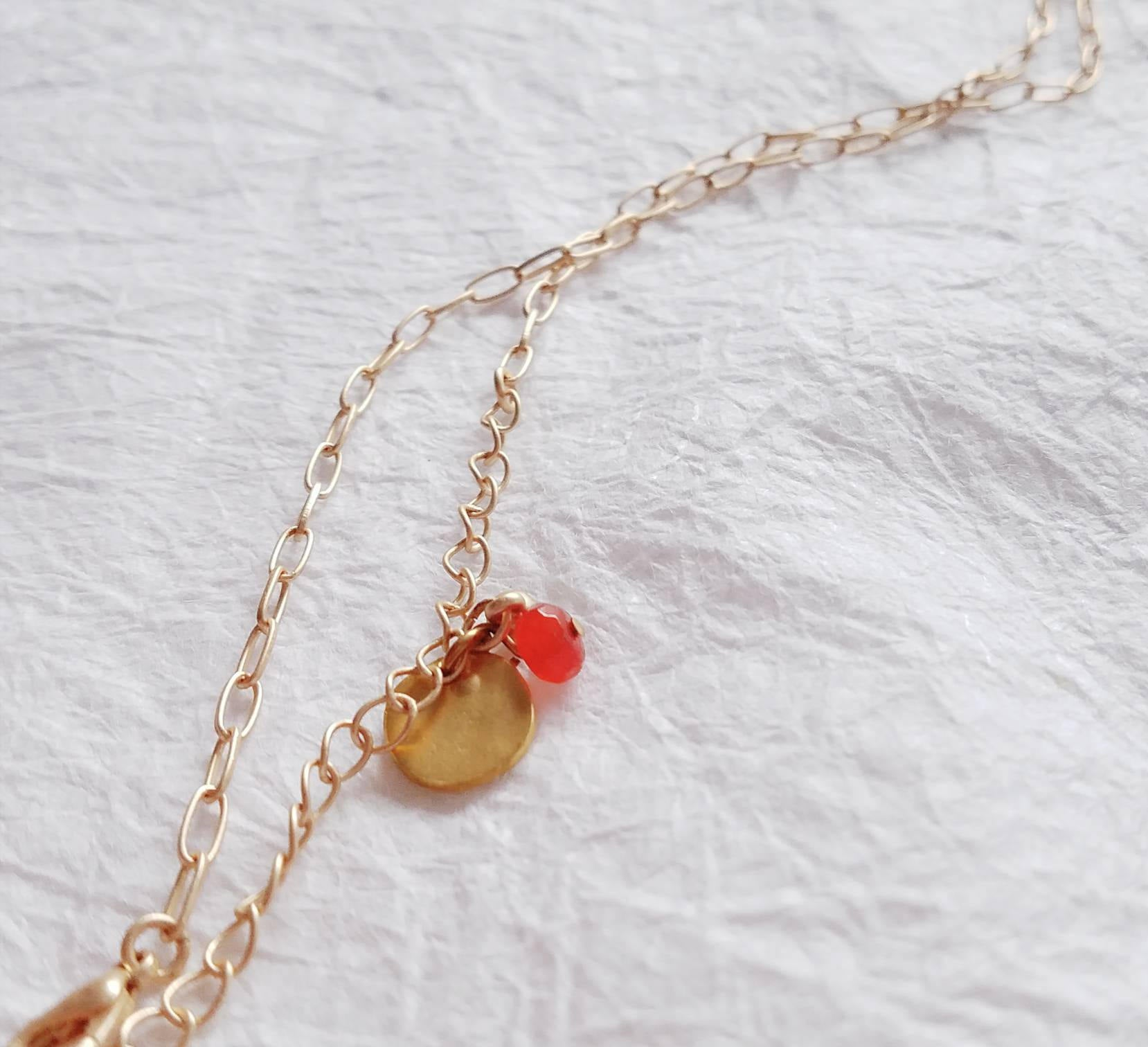 Inspirational Carnelian Rondelle Hope Charm Matte Goldtone Necklace, MB101726: Season of Hope