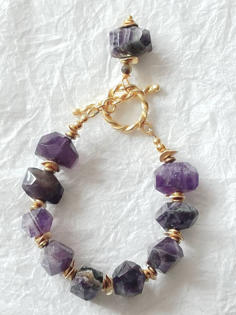 Chunky Genuine Amethyst Nuggets & Gold Filled Statement Bracelet, MB101714: Kingdom of Peace