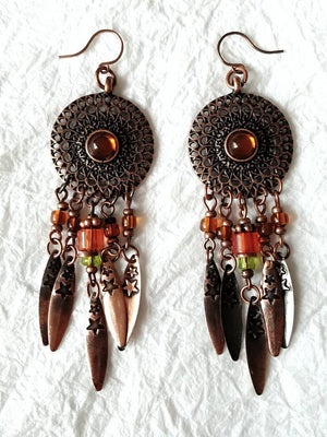 Rustic Burnt Orange Dangle Arrow Fringe Drops and Faux Amber Earrings, QW09179: DreamCatcher of Fall