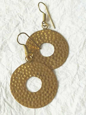 "Solid Hammered Round Brass Fashionable Ethnic Greek Exotic Statement Earrings, MB101713: ""Rockin' Around"" The Christmas Tree"