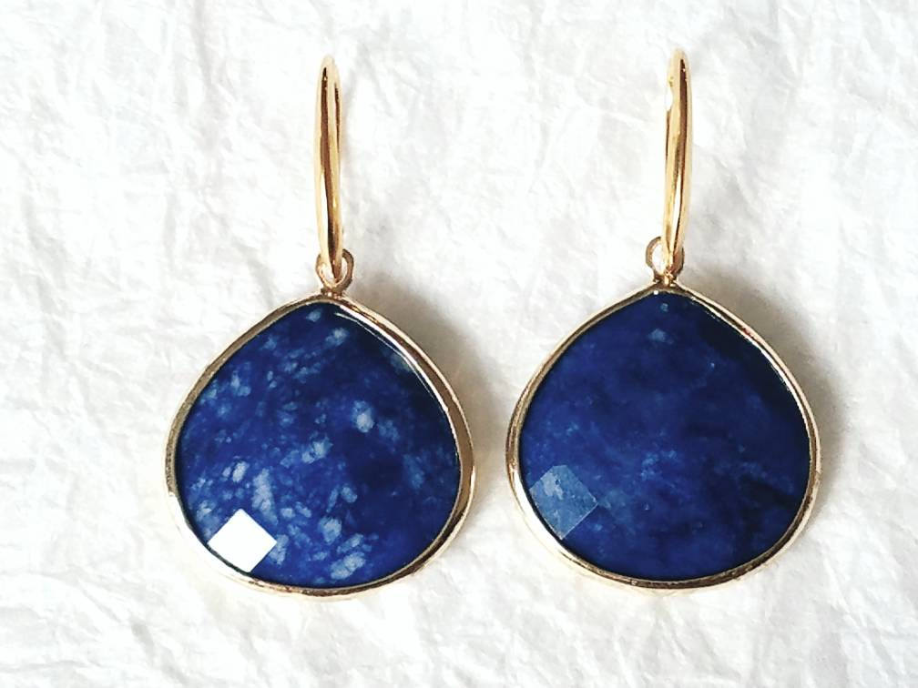 Sodalite Gold Vermeil Gold Bezel Large Briolette Drop Earrings, MB10112: Majestic Sky