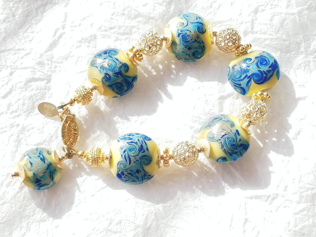 Yellow and Blue Ocean Theme Glass Lampwork Gold Vermeil Bead Bracelet MB101715: Sunny Oceanside Holiday Bracelet