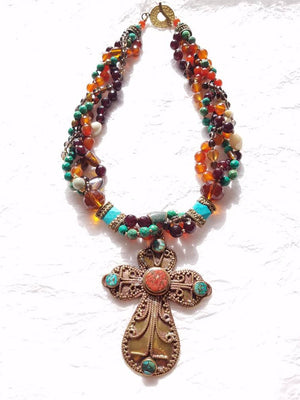 Multistrand Carnelian, Smokey Quartz, Turquoise Necklace with Solid Brass Coral and Turquoise Inlaid Cross Pendant, MB101723: The Grail