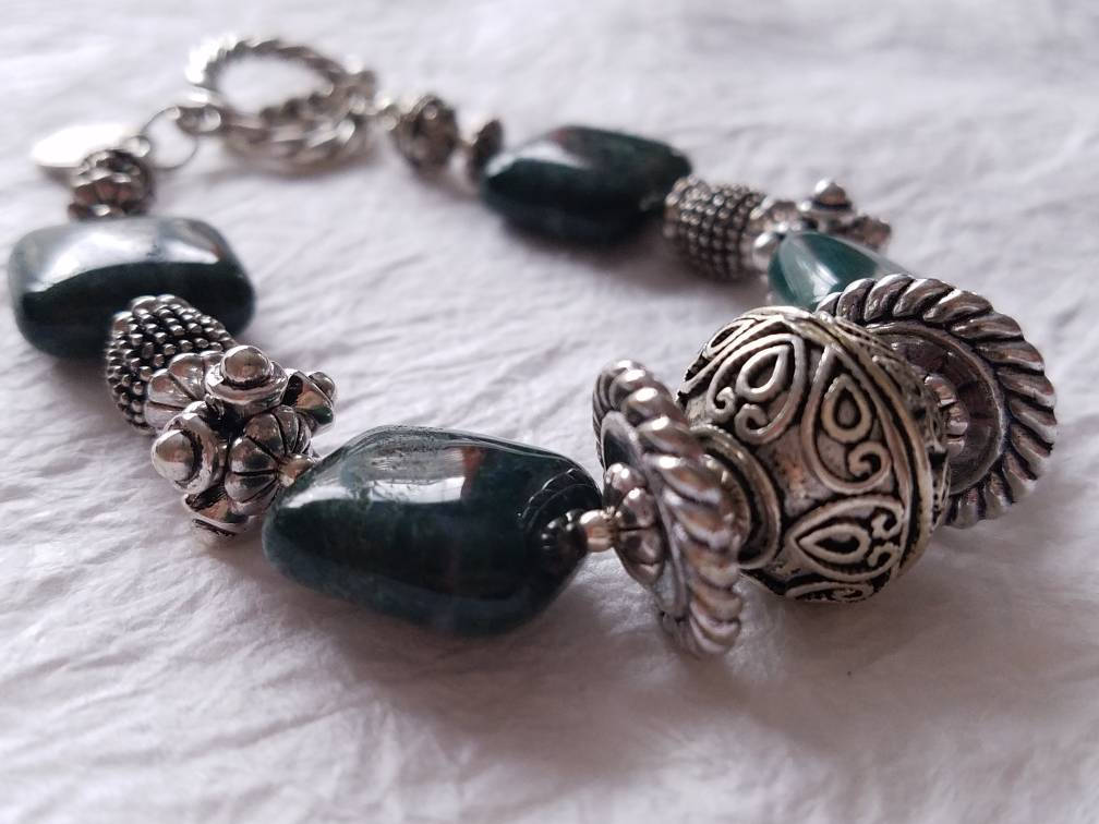 Green Jasper Puffy Square Silver Bali Beads Toggle Clasp Statement Bracelet Divinite Jewellry