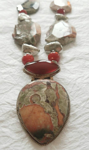 Picasso Jasper Red Carnelian Agate Silver Plated Statement Necklace, NRR1533 The Mojave