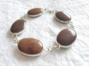 Brown Jade Oval Sterling Silver Bezel Bracelet Divinite Jewellry