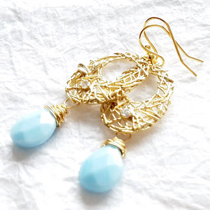 Robin's Nest Earring with light blue briolette drops and matte gold nest connector