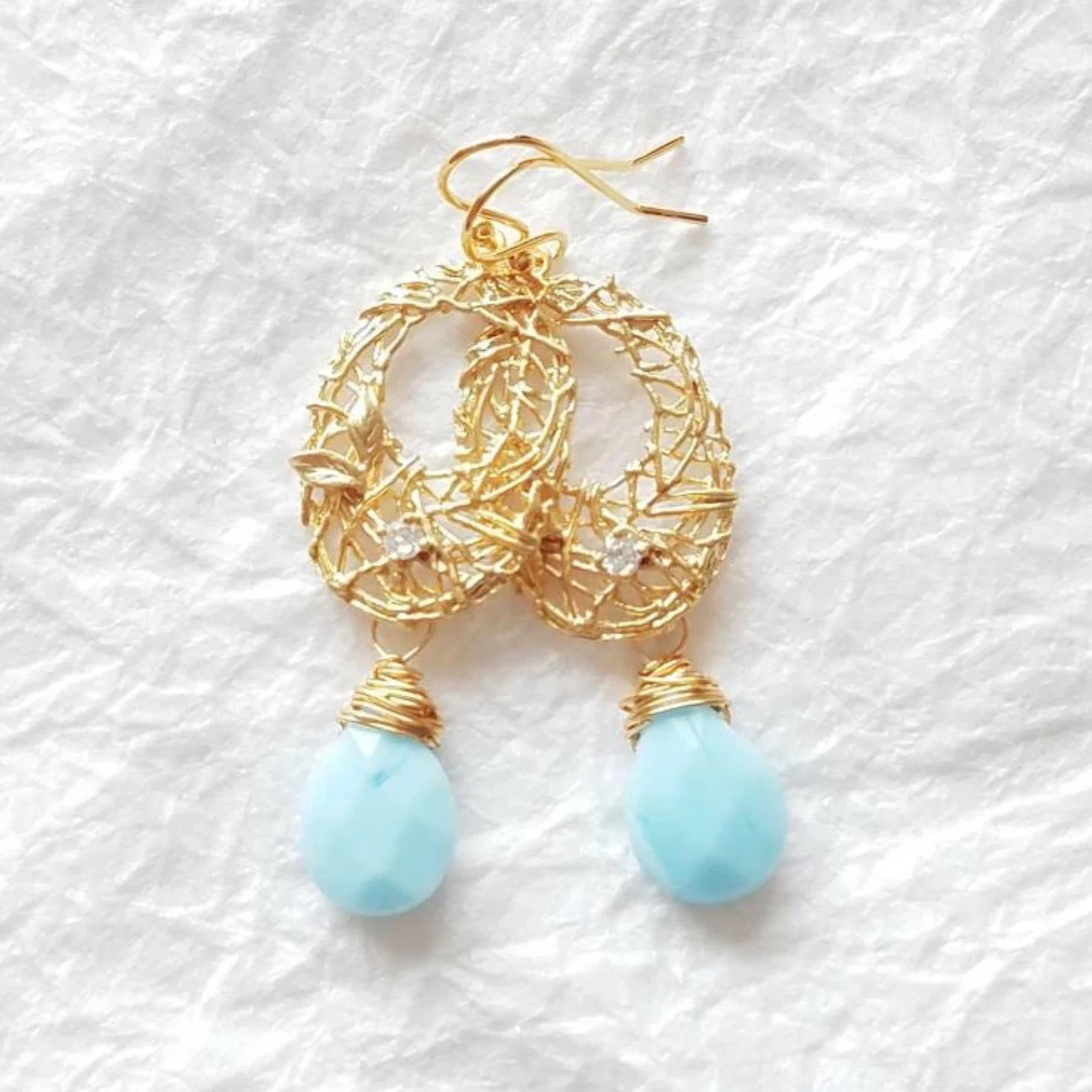 14kt gold plated blue briolette drop earrings wire wrapped divinite jewellry
