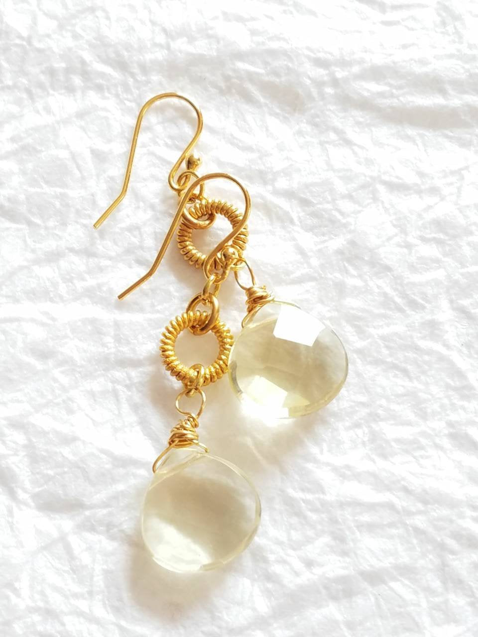Lemon Quartz Briolette Coiled Circle Vermeil and 14kt Gold Plate Drop Earrings, The Jessamine Earrings