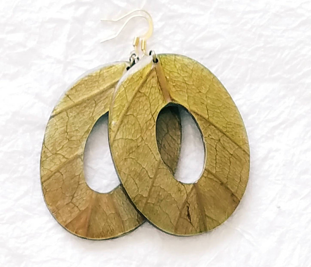 Green Mango Leaves Coconut Big Statement Earrings Oval Eco Friendly, Manga Earrings