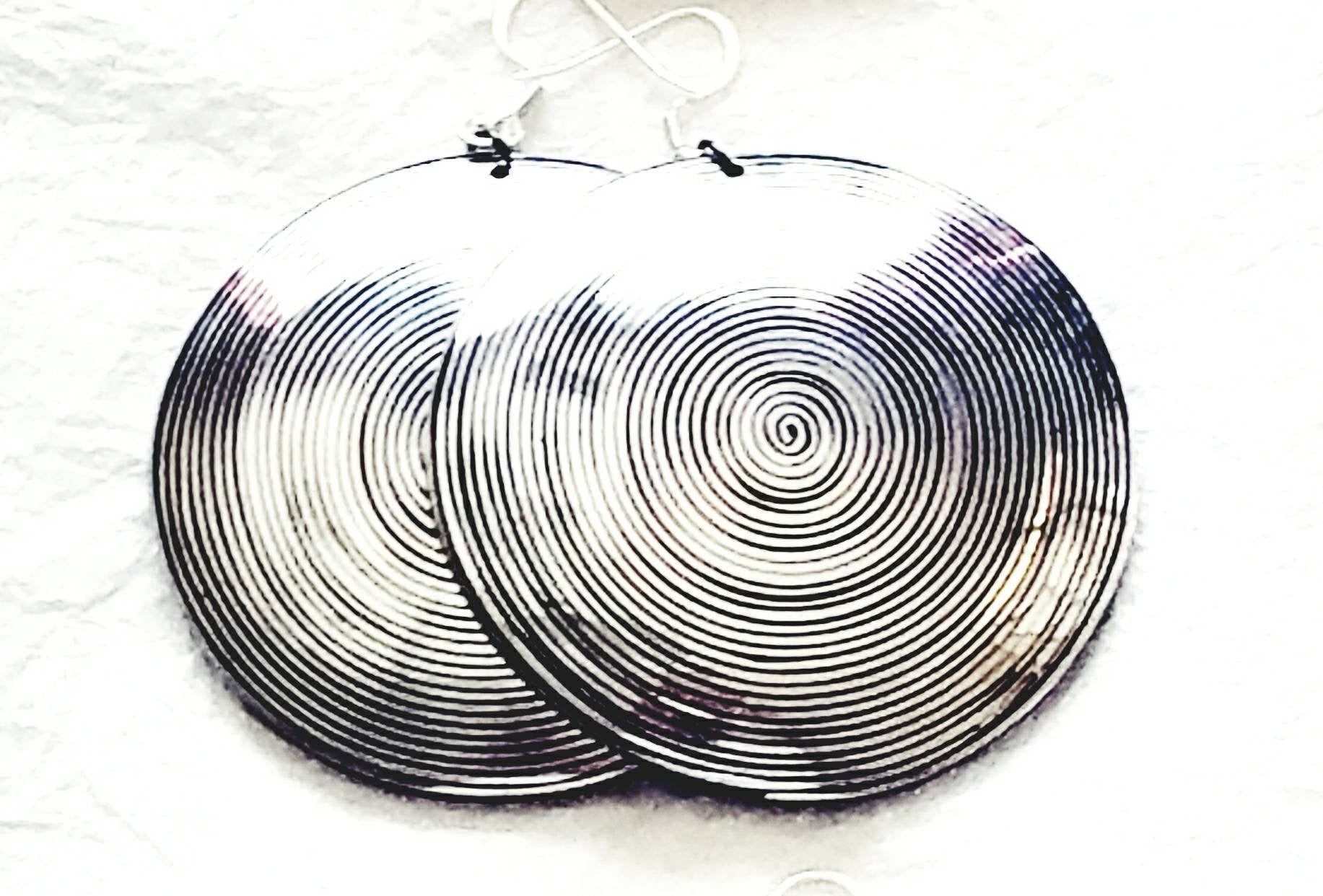 Hammered Wire Inlaid Coconut Large Statement Eco Friendly Earring, The Hotwire Earrings Round