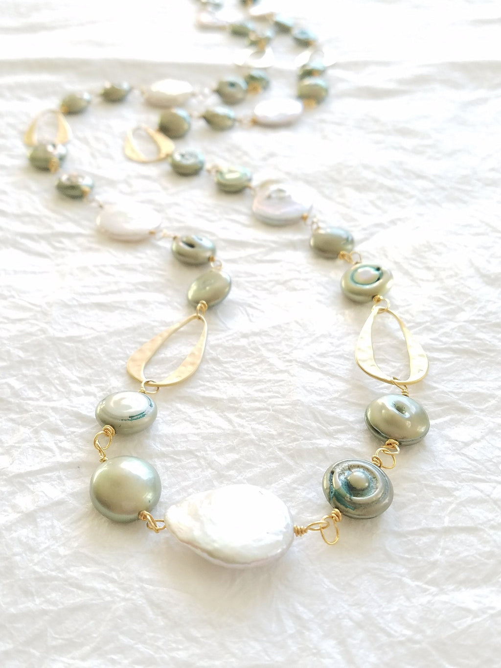 White & Seafoam Green Coin Pearl 14kt Matte Gold Plated Abstract Hammered Oval Motif Matinee Long Necklace, The Calla Lily Necklace