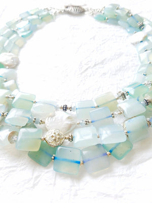 Multistrand Soft Blue Square Agate Cultured Coin Pearls Swarovski Crystal Elements Handmade Sterling Silver Clasp, The Morning Glory