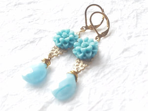 Vintage Blue Floral Motif Whitewashed Brass Filigree Hand Wire-Wrapped Leverback Briolette Drop , The Blue Zinnia Earrings