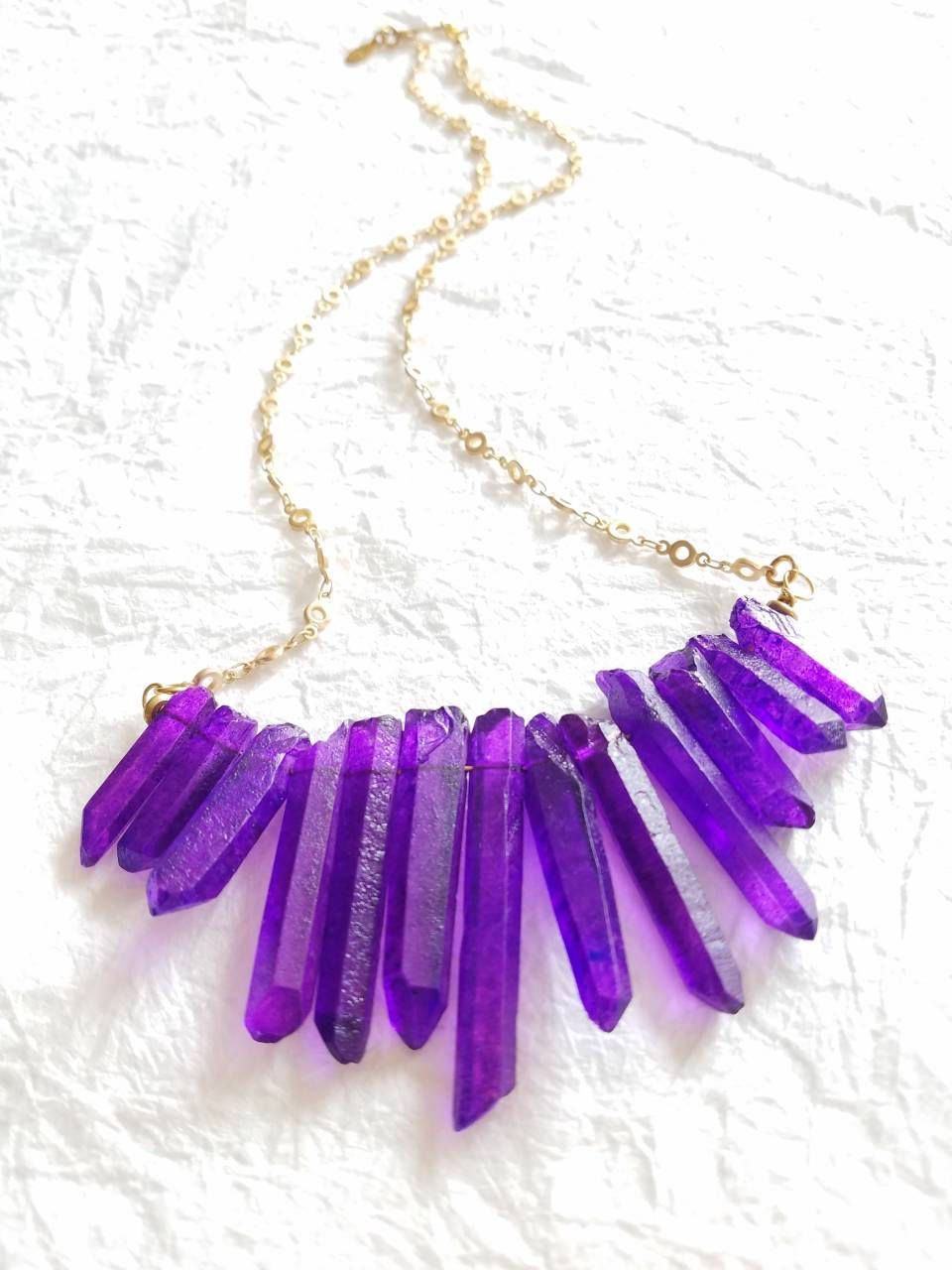 Dyed Purple Quartz Spike Stick Pendant & Matte Gold Plated Circle Chain Necklace, The Sage Necklace