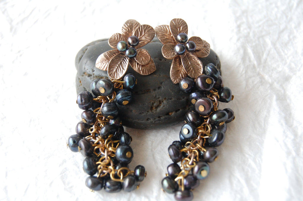 Black Iridescent Pearl Cluster Bronze Flower Post Pierced Drop Earrings Divinite Jewellry