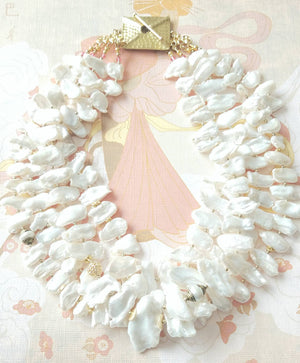 Multistrand White Cultured Biwa Stick Pearl Gold Vermeil Hammered Clasp Statement Necklace The Dahlia Bloom Necklace