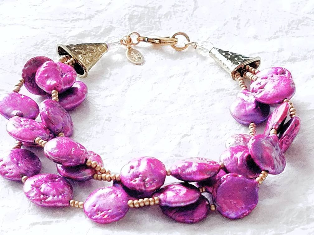 Three Strand Multistrand Purple Violet Cultured Coin Pearl Bracelet, The Verbena Bracelet