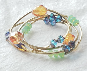 Solid Brass Tube Czech Beads Faceted Glass Multibracelet Stretch Bracelet, Daisies & Poms Bracelet