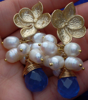 Culture Potato Pearl Cluster Gold Plated Magnolia Bloom Flower Post Crystal Blue Briolette Drop Earrings Divinite Jewellry