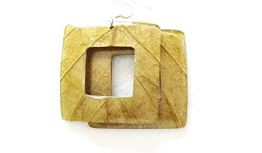 Green Mango Leaves Coconut Big Statement Earrings Graduated Square Eco Friendly, Manga Earrings
