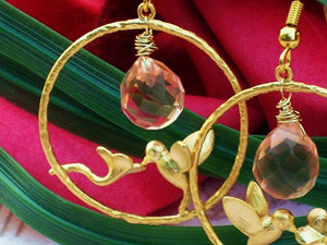 Matte Gold Plated Hoop Hummingbird Pink Crystal Briolette  Hoop Earrings, Sweet Nectar Gold