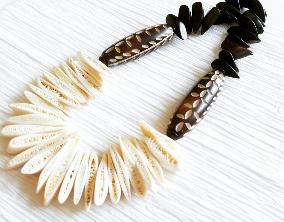 White Bone Freeform Stick Carved Leaf Design Bone Focal with Ebony Wood Petals Statement Ethnic African Exotic Necklace, Arabica & Cream