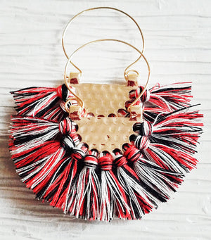 Large Black, Red & White Fringe Crescent Fan Shape Hoop Statement Trendy Atlanta Falcons Georgia Bulldogs, Fanfare Earrings