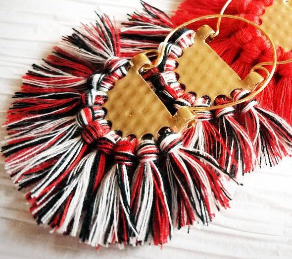 Large Black Fringe Crescent Fan Shape Hoop Statement Trendy Atlanta Falcons Georgia Bulldogs, Fanfare Earrings