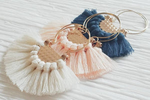 Large Soft Peach Fringe Crescent Fan Shape Hoop Statement Trendy Earings, Osiana Peach Earrings