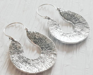 Large Dome Drop Hoop Antique Silver Grecian Inspired Texture Scroll Earrings, Athena Earrings