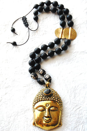 Large Brass Buddha Head Pendant Matte Black Onyx Gold Brass Hammered Coins Adjustable Necklace Divinite Jewellry