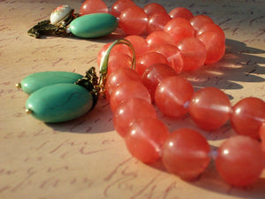 Pink Cherry Quartz & Turquoise Vintage Porcelain Clasp Hand-knotted  Necklace Set, Lemonade and Mint Necklace Set