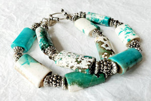 Chunky Seafoam Rectangle Jasper Stone Toggle Clasp Double Strand Beaded Bracelet
