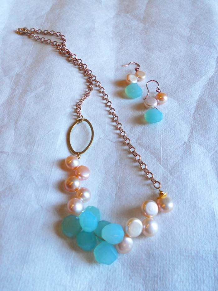 Peruvian Blue Chalcedony Briolette Drops Freshwater Coin Pearls Rose Gold Chain Necklace Set