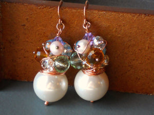Large White Round Shell Pearl Wire Wrapped Pearl Crystal and Glass Stones Earrings