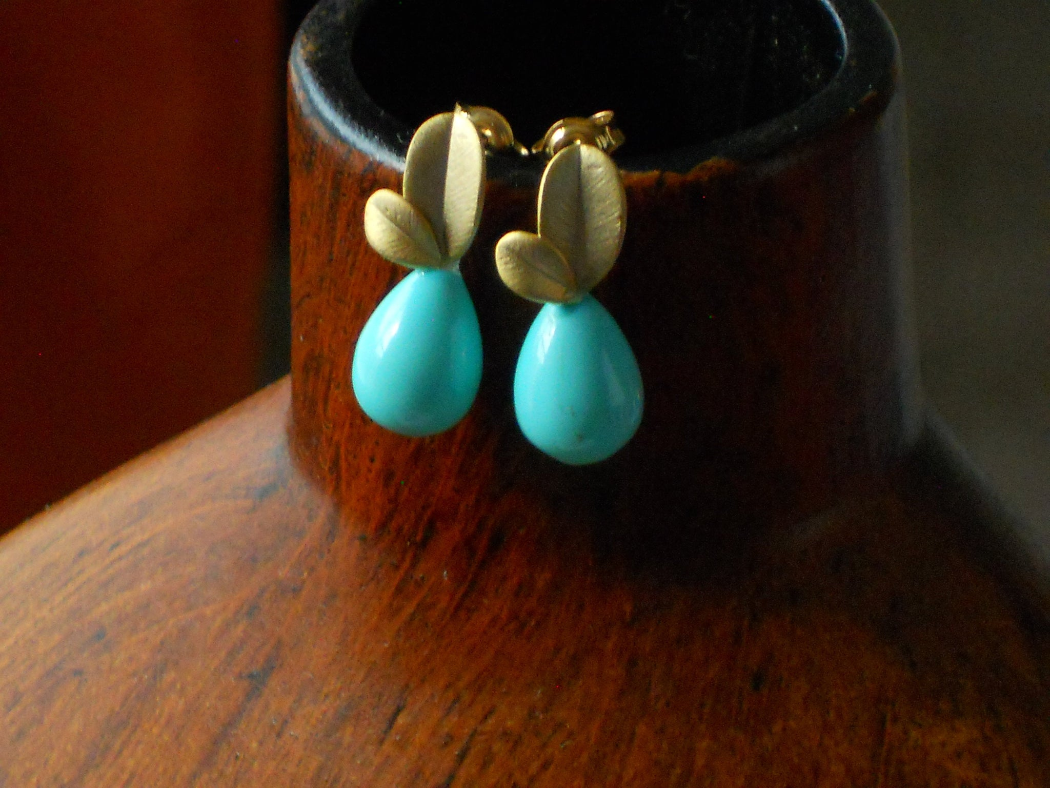 Nest Egg Blue Matte Gold Leaf Post Shell Pearl Teardrop Dainty Earrings, Mint Julep