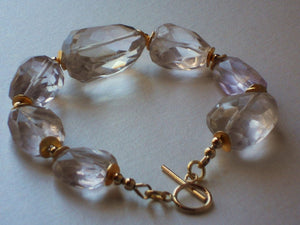 Lavender Rock Quartz & Gold Filled Toggle Clasp Bracelet