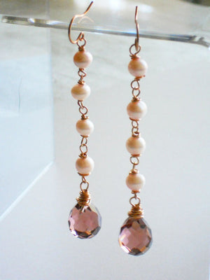 Pink Freshwater Pearl and Mauve Crystal Briolette Drop Earrings