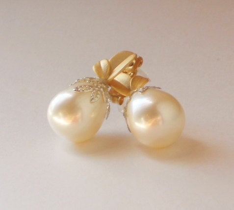 Solid Shell Pearl Gold Post Leaf Silver Bead Cap Post Earrings, Serenity