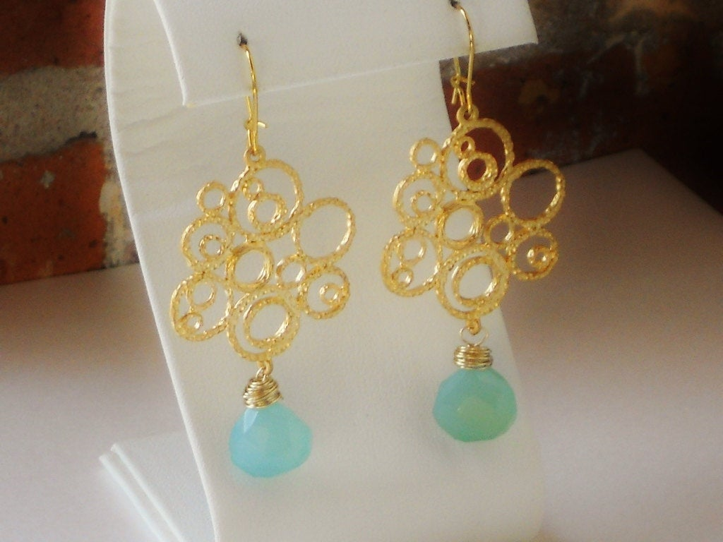 Peruvian Blue Chalcedony Wire Wrapped Multicircle Earrings, Bubbling Beauty