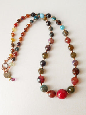 Simple Multicolored Juicy Berries Faceted Agate and Copper Beads Necklace Set