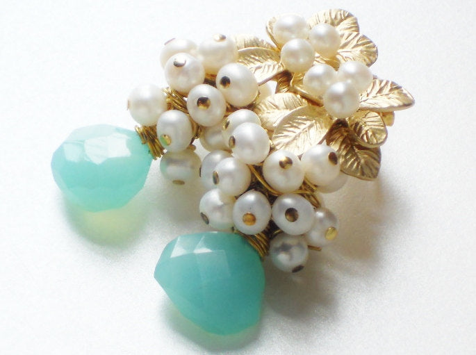 Peruvian Blue Chalcedony Freshwater Pearl Earrings, The Hawaiian Vanda Adore